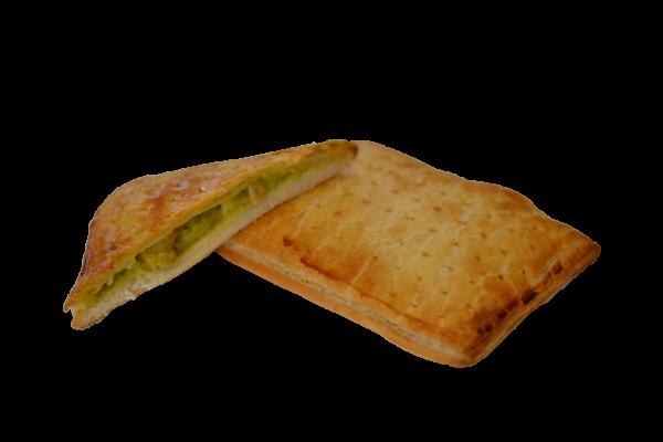 Prodotto | Pizza farcita con crema di piselli, patate e pancetta | Delice Lab